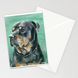 The Colorful Rottweiler Painting Stationery Cards