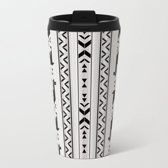Llamas_Gray & Black Metal Travel Mug