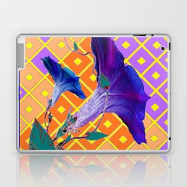 Aqua Purple Gold Morning Glories Laptop & iPad Skin