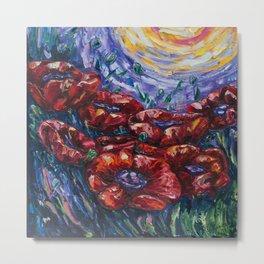 Impressionist Field Poppies by OLena Art Metal Print