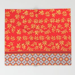 RED WEIMS AND GOLD LEAVES Throw Blanket
