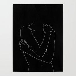 Nude figure line drawing illustration - Emie black Poster