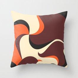 Retro Style 70s Wave Print Throw Pillow