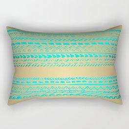 Aqua Blue Green Tribal Pattern on Gold Background Rectangular Pillow