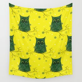 Owl On A Branch Wall Tapestry