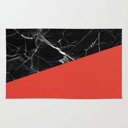 Black Marble with Cherry Tomato Color Rug