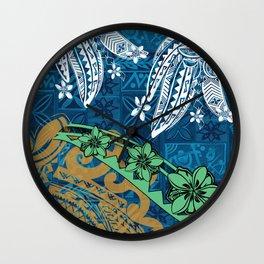 Polynesian - Samoan - Blue Hawaii Tribal Threads Print Wall Clock