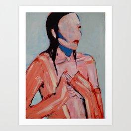 Heart orange and blue Art Print