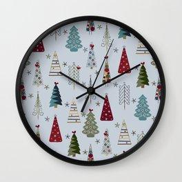 Scandinavian Christmas Trees Pattern - Blue Red Green Wall Clock