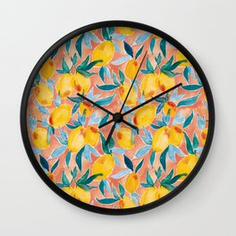 Lucky Lemons Watercolor Fruit Pattern in Peach and Yellow Wall Clock
