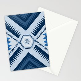 Blue Triangle Geometric Mountain Range Stationery Cards
