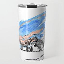 Brontosaurus Dinosaur on Blue Watercolor Asteroid Travel Mug