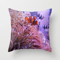 finding nemo Throw Pillows featuring Nemo by Joanna Dickinson