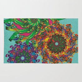 Swirls Abstract - Teal Rug