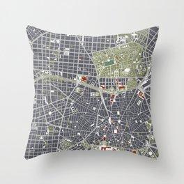 Madrid city map engraving Throw Pillow