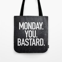 xbox Tote Bags featuring Monday You Bastard by Text Guy