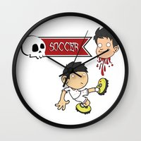 soccer Wall Clocks featuring Soccer Skull by flydesign