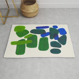 Minimalist Modern Mid Century Colorful Abstract Shapes Phthalo Blue Lime Green Gradient Overlapping Rug