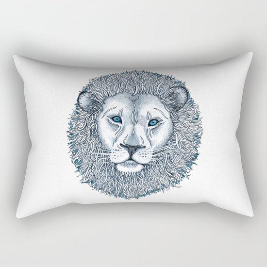Blue Eyed Lion Rectangular Pillow