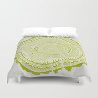 tree rings Duvet Covers featuring Lime Tree Rings by Cat Coquillette