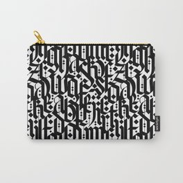 typography pattern 4 - seamless   calligraphy design - black and white Carry-All Pouch