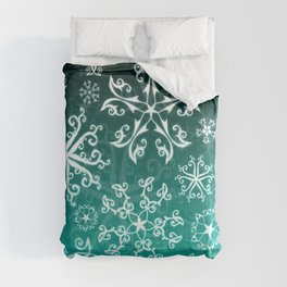 Symbols in Snowflakes on Winter Green Comforters
