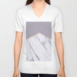 Smokey lilac - rose gold geometric marble Unisex V-Neck