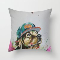 labrador Throw Pillows featuring LABRADOR by EDSON RAMOS