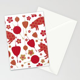 Oriental Pigs Stationery Cards
