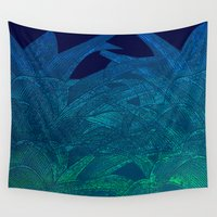 swim Wall Tapestries featuring Midnight swim by Hipsterdirtbag