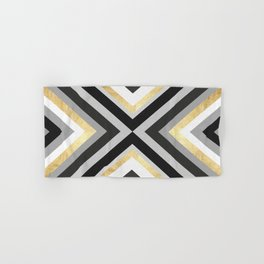 Gray and gold lines Hand & Bath Towel