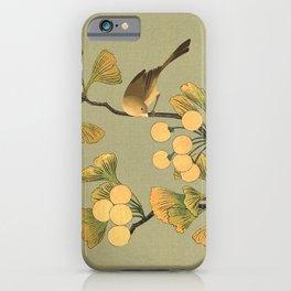 Bird in Ginkgo Tree iPhone Case