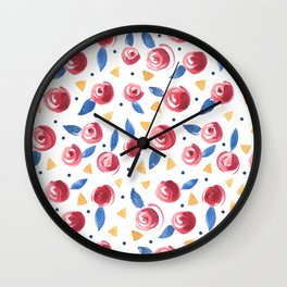 Primary Color Roses Wall Clock
