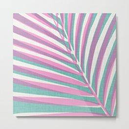 Aqua + Pink Pop Art Palm Metal Print