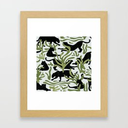 Abstract Wild Cats and Plants / Black and Green Framed Art Print