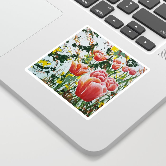 Edge of a tulip garden Sticker