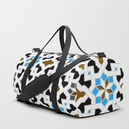Oriental Pattern - Geometric Design, blue / brown Duffle Bag