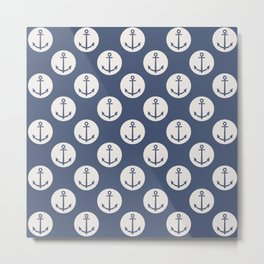 Blue Nautical Ships Anchor Metal Print