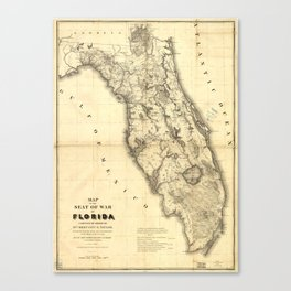 Map of Florida during the Second Seminole War (1839) Canvas Print