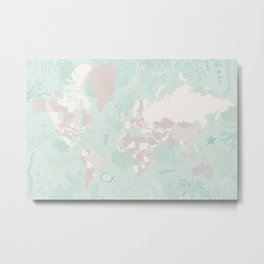 """World map with coral, seaweed and marine creatures, """"Lenore"""" Metal Print"""