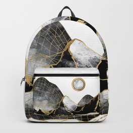 Minimal Black and Gold Mountains Backpack