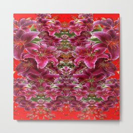 Red BURGUNDY ASIAN LILIES FLORAL MODERN ART Metal Print