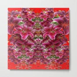 Red BURGUNDY ASIAN LILIES FLORAL MODERN ART Metal Print