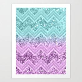 Mermaid Glitter Chevron #1 #shiny #decor #art #society6 Art Print