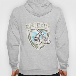 Cricket Player Batsman Batting Shield Etching Hoody