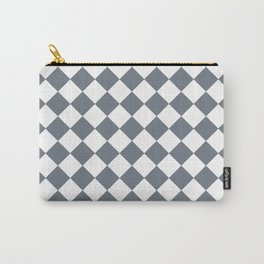 Gray white pattern plaid Carry-All Pouch