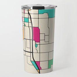 Colorful City Maps: Anchorage, Alaska Travel Mug