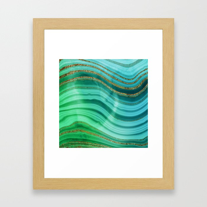 Ocean Blue And Green Mermaid Glamour Marble Framed Art Print