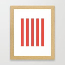 Carmine pink - solid color - white vertical lines pattern Framed Art Print