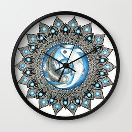 Yin and Yang Butterfly Koi Fish Mandala Wall Clock